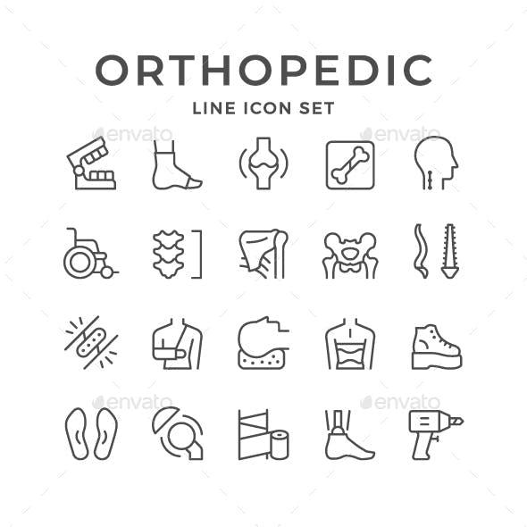 Set Line Icons of Orthopedics