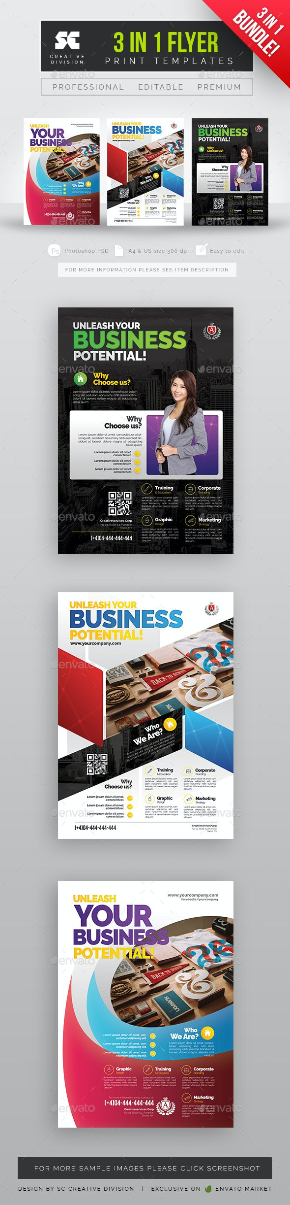 Corporate Flyer Bundle 3 in 1 - Corporate Flyers