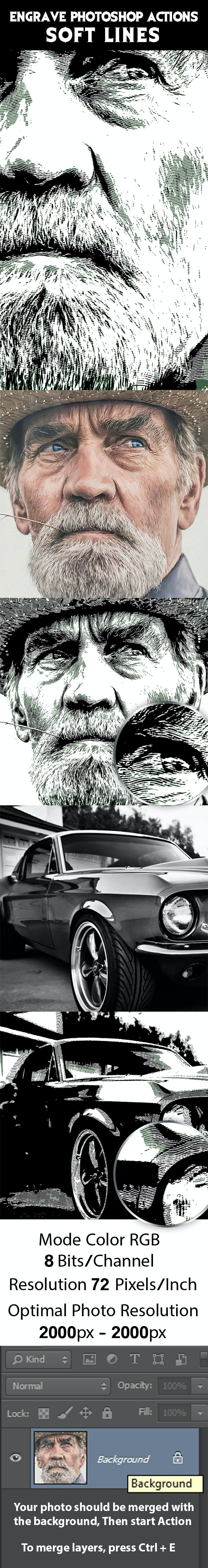 Engrave Photoshop Actions Soft Lines - Photo Effects Actions