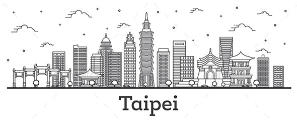 Outline Taipei Taiwan City Skyline - Buildings Objects