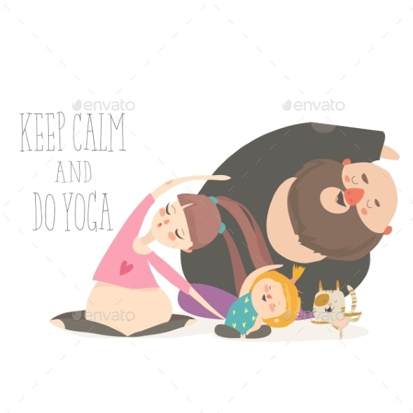Family Yoga Cartoon Characters - People Characters