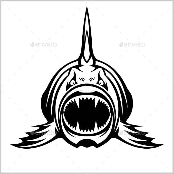 Cartoon Monster Fish Isolated on White