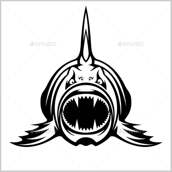Cartoon Monster Fish Isolated on White - Animals Characters