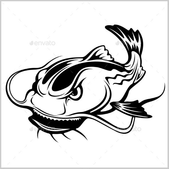Cartoon Catfish Vector Illustration Isolated - Animals Characters