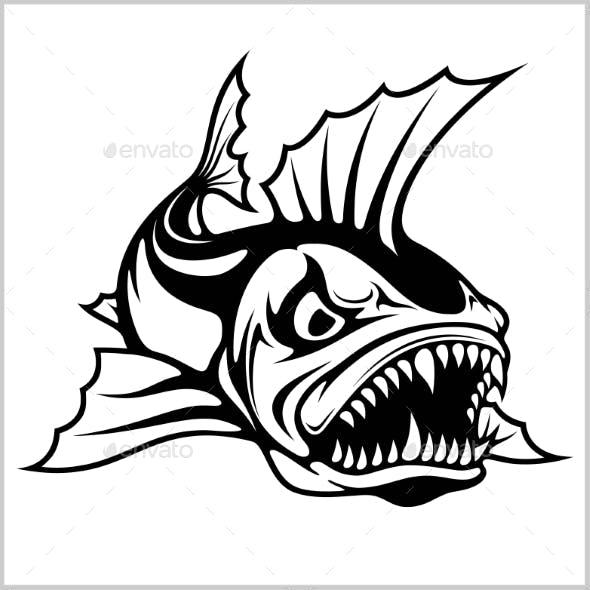 Cartoon Monster Fish Vector Illustration