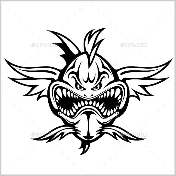 Cartoon Monster Fish Vector Illustration - Animals Characters