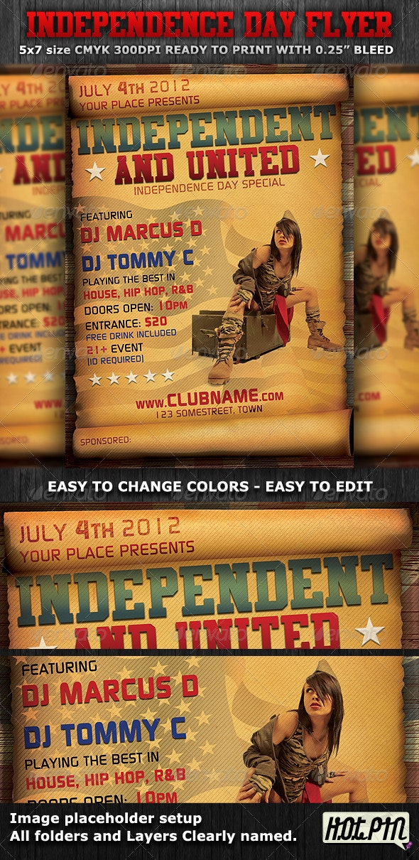Independence Day Flyer Template - Clubs & Parties Events