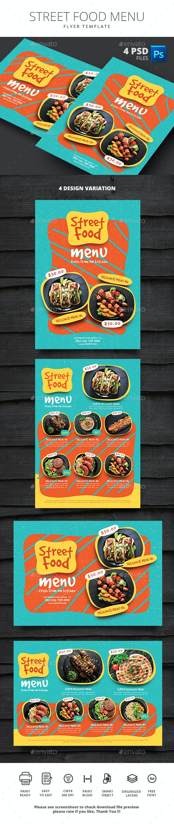 Street Food Menu - Food Menus Print Templates