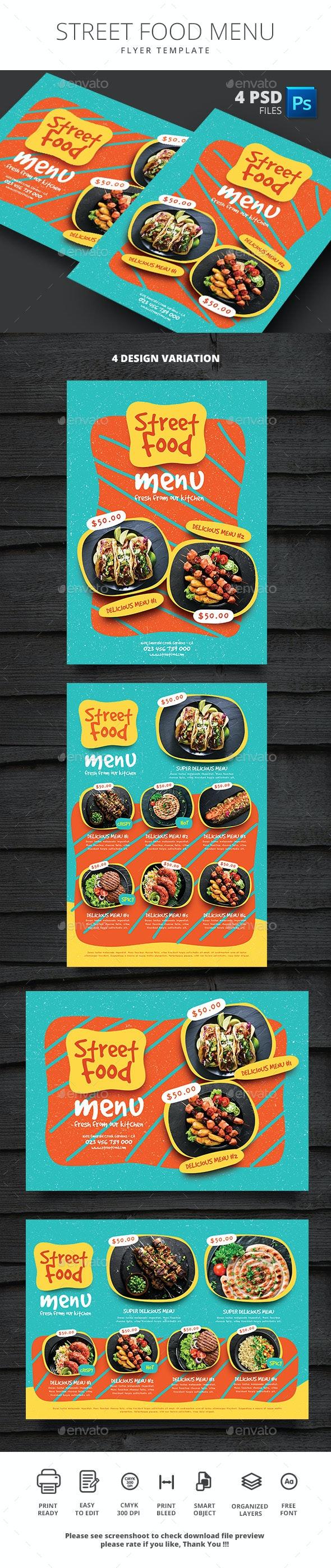 Street Food Menu - Food Menus Print Templates