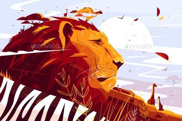 Majestic Lion on Safari - Animals Characters