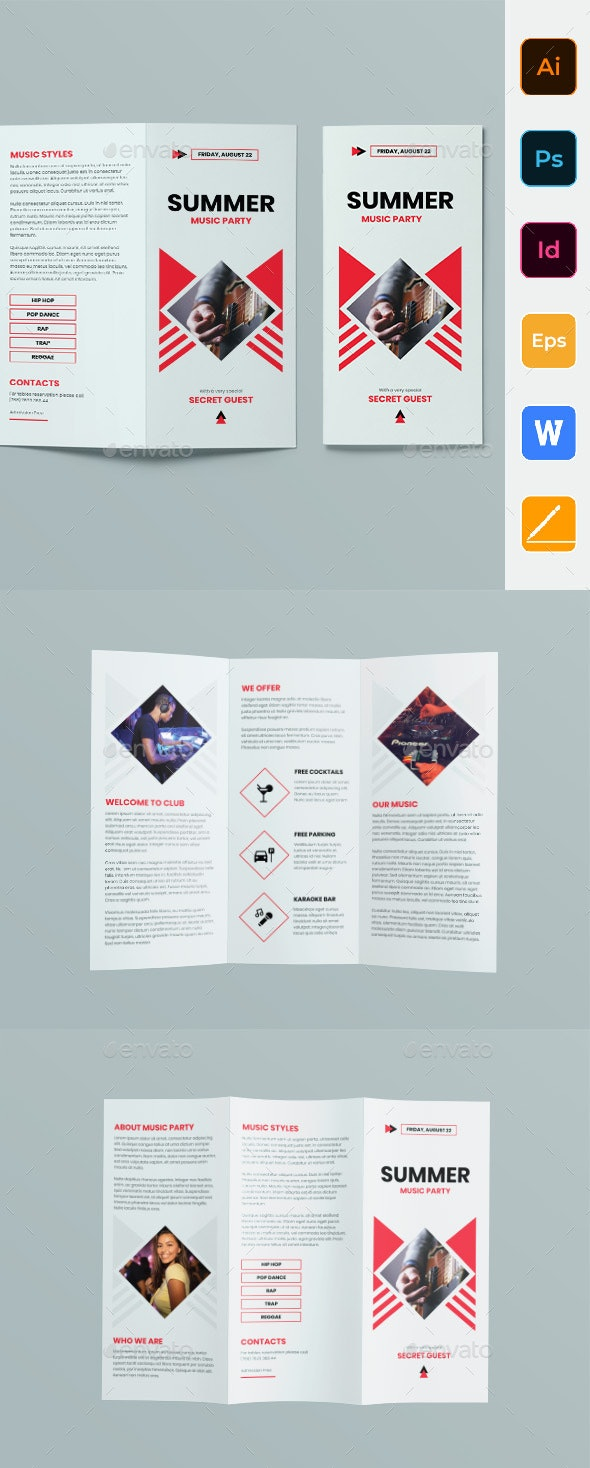 Summer Music Party Trifold Brochure - Corporate Brochures