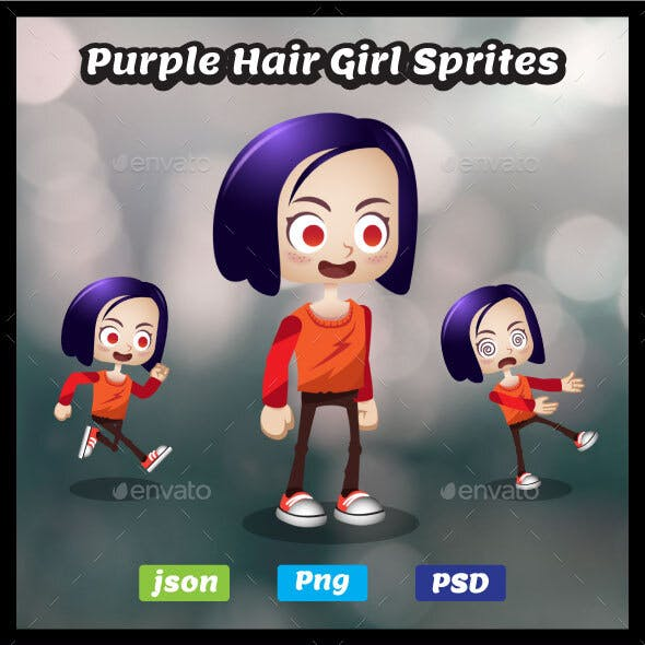Purple Hair Girl Sprites - 2D Game Asset Female Character