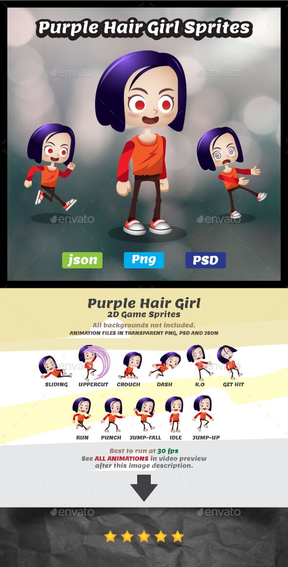 Purple Hair Girl Sprites - 2D Game Asset Female Character - Sprites Game Assets