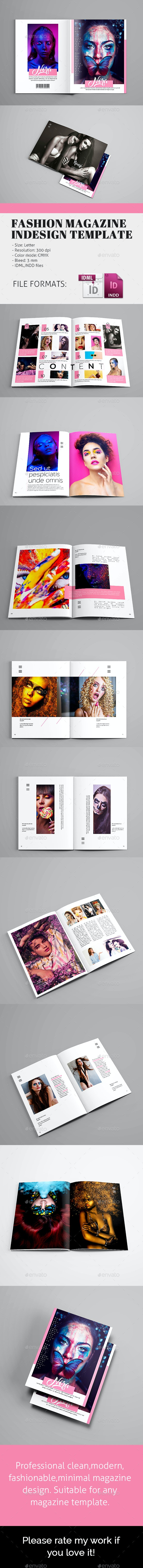 Fashion Magazine InDesign Template - Magazines Print Templates