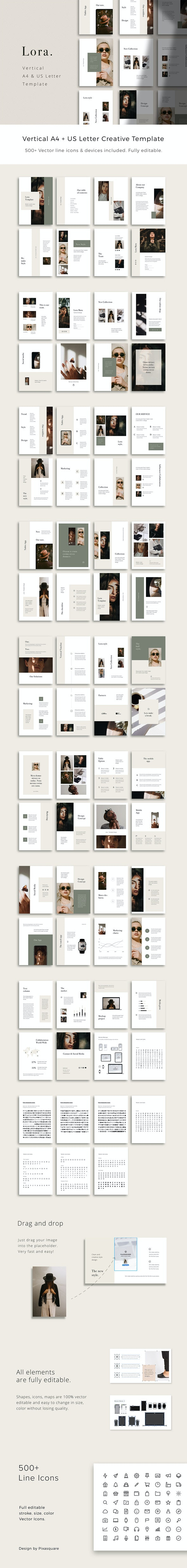 LORA - Vertical Powerpoint Presentation Template - Creative PowerPoint Templates
