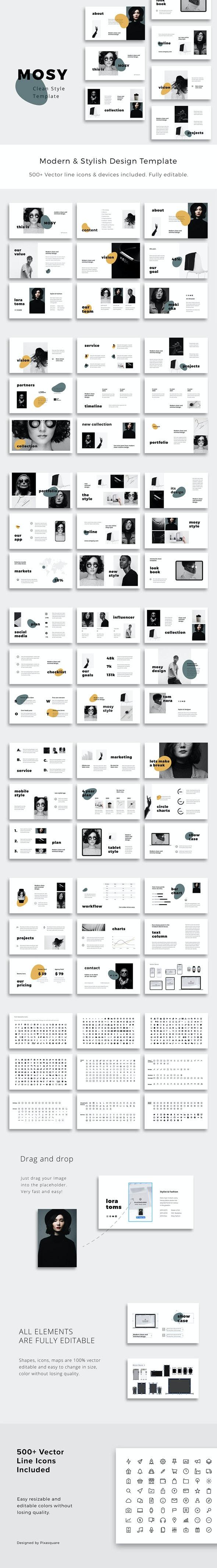 MOSY - Keynote Clean and Stylish Presentation Template - Creative Keynote Templates