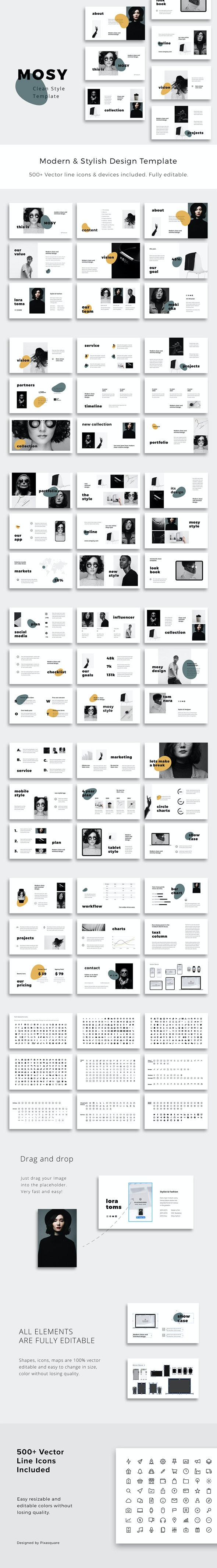 MOSY - Google Slides Clean and Stylish Presentation Template - Google Slides Presentation Templates