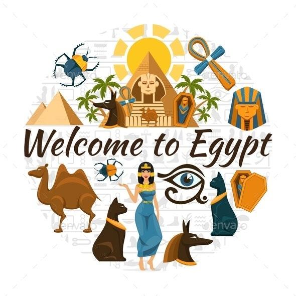Flat Egypt Travel Round Concept - Miscellaneous Vectors
