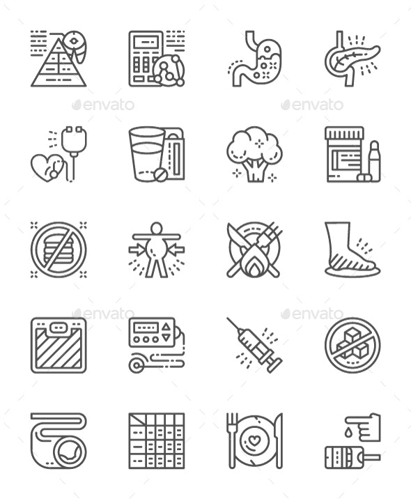 Set Of Diabetes Line Icons. Pack Of 64x64 Pixel Icons - Objects Icons