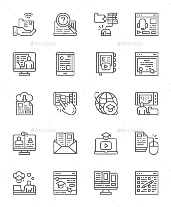 Set Of Online Education Line Icons. Pack Of 64x64 Pixel Icons - Objects Icons