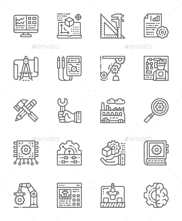 Set Of Engineering Line Icons. Pack Of 64x64 Pixel Icons - Technology Icons