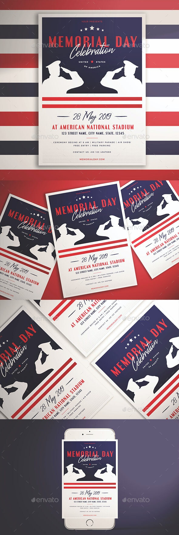 Memorial Day Celebration Flyer - Holidays Events