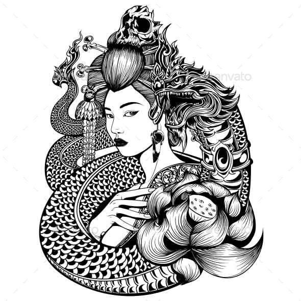 Geisha Naga Lotus - Vectors