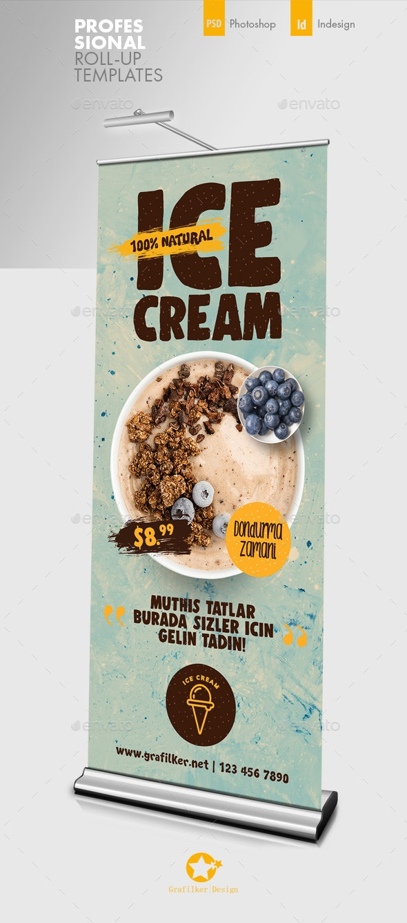 Ice Cream Roll-Up Templates - Signage Print Templates