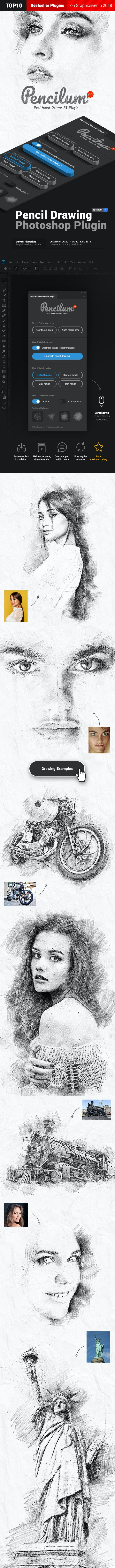 Pencilum - Real Hand Drawn Photoshop Plugin - Photo Effects Actions