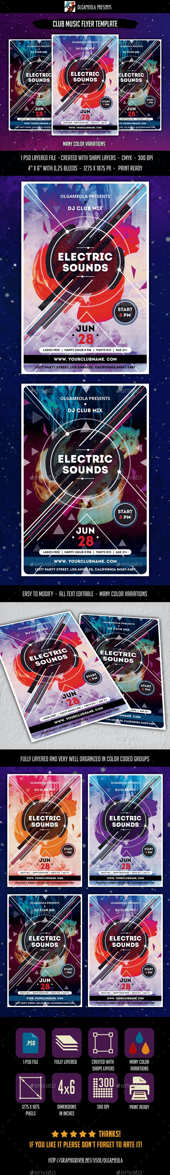 Club Music Party Flyer Template - Clubs & Parties Events