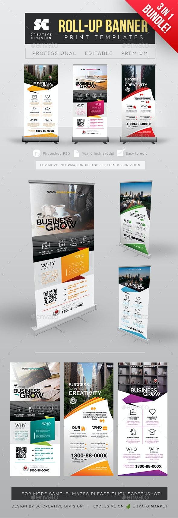 Business Roll Up Banner Bundle - Signage Print Templates