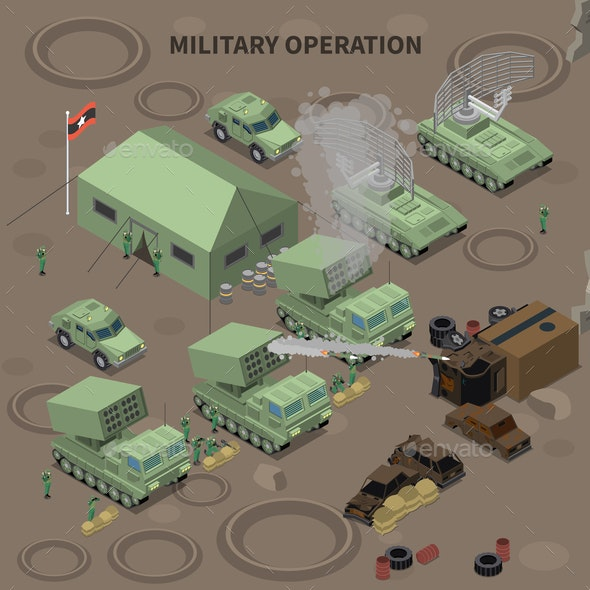 Military Operation Isometric Composition - Miscellaneous Vectors