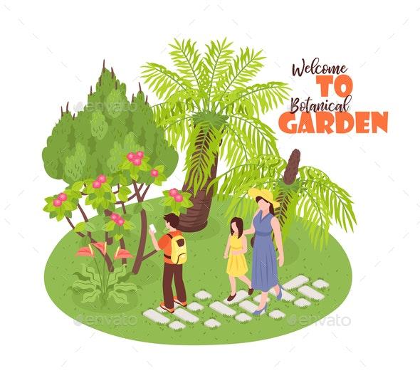 Garden Walk Isometric Background - Miscellaneous Vectors