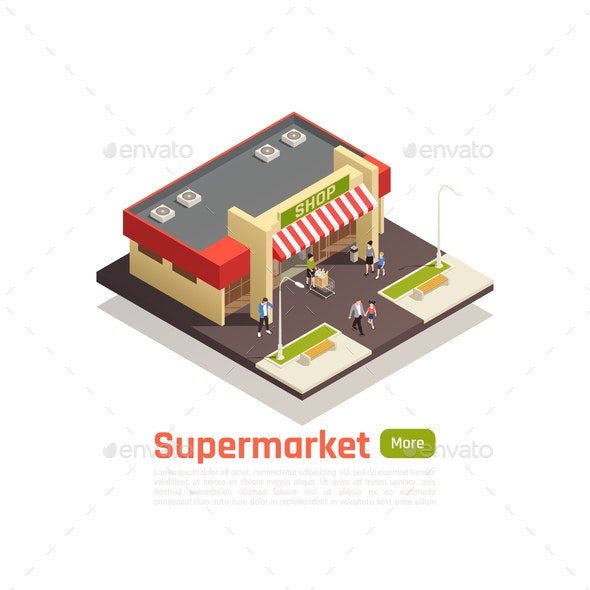 Isometric Store Mall Shopping Center Concept - Buildings Objects
