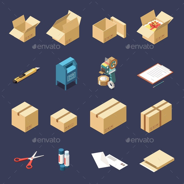 Cardboard Boxes Isometric Set - Seasons/Holidays Conceptual