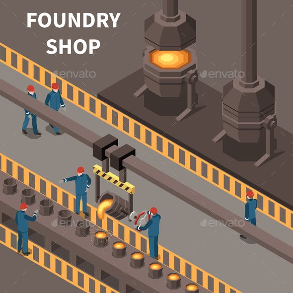 Metal Industry Isometric Composition