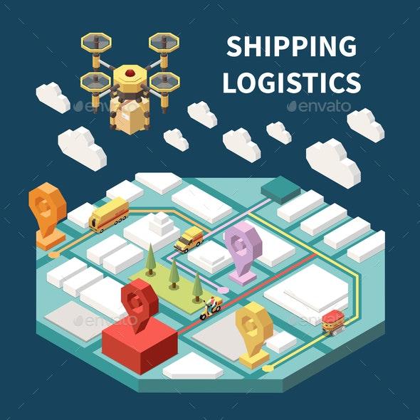 Logistics Isometric Composition - Technology Conceptual