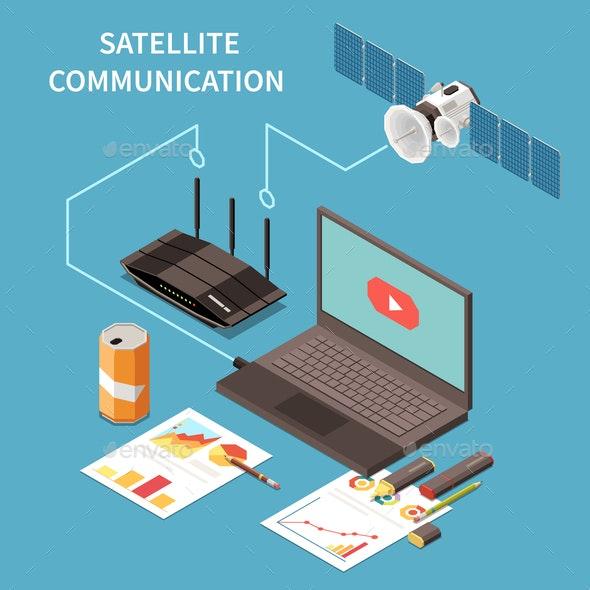 Telecommunication Isometric Composition - Technology Conceptual