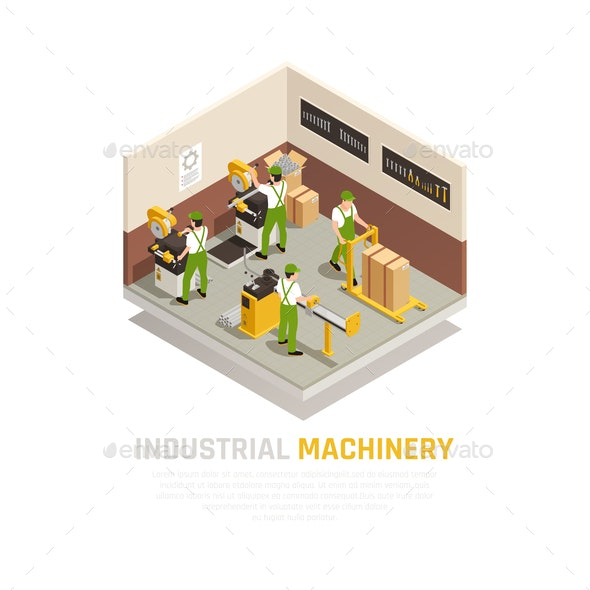 Industrial Machinery Isometric Composition - Industries Business