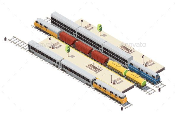 Train Railway Isometric Composition - Miscellaneous Vectors