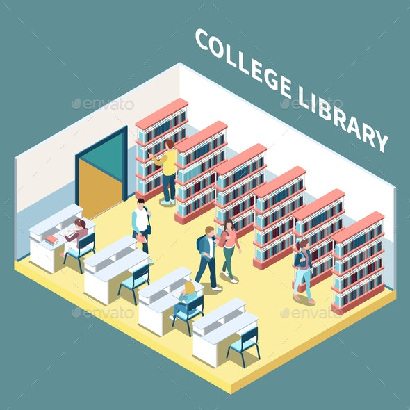College Library Isometric Composition - Miscellaneous Vectors