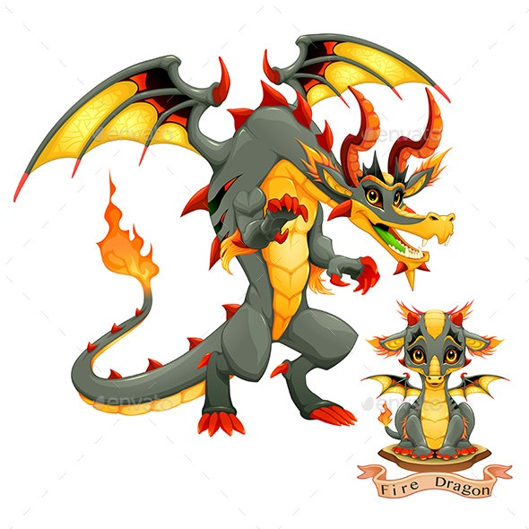 Dragon of Fire Element in Two Variation, Puppy and Adult - Animals Characters