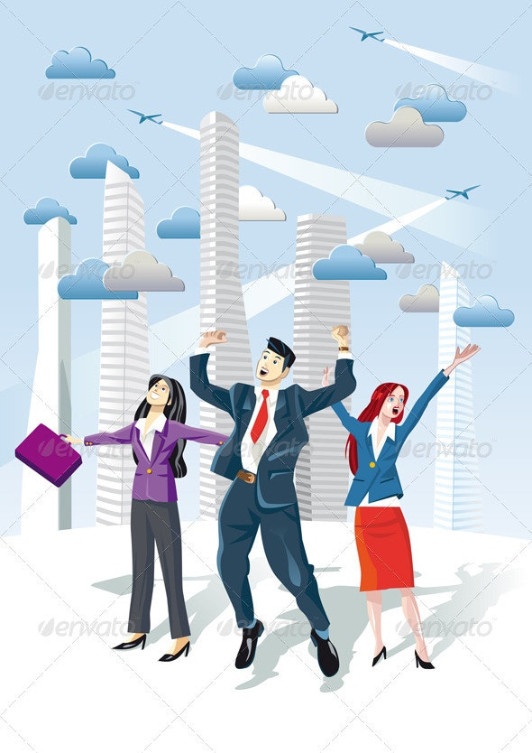 Successful Executives Jumping - Concepts Business