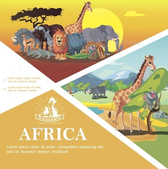 Cartoon Travel To Africa Colorful Template - Flowers & Plants Nature
