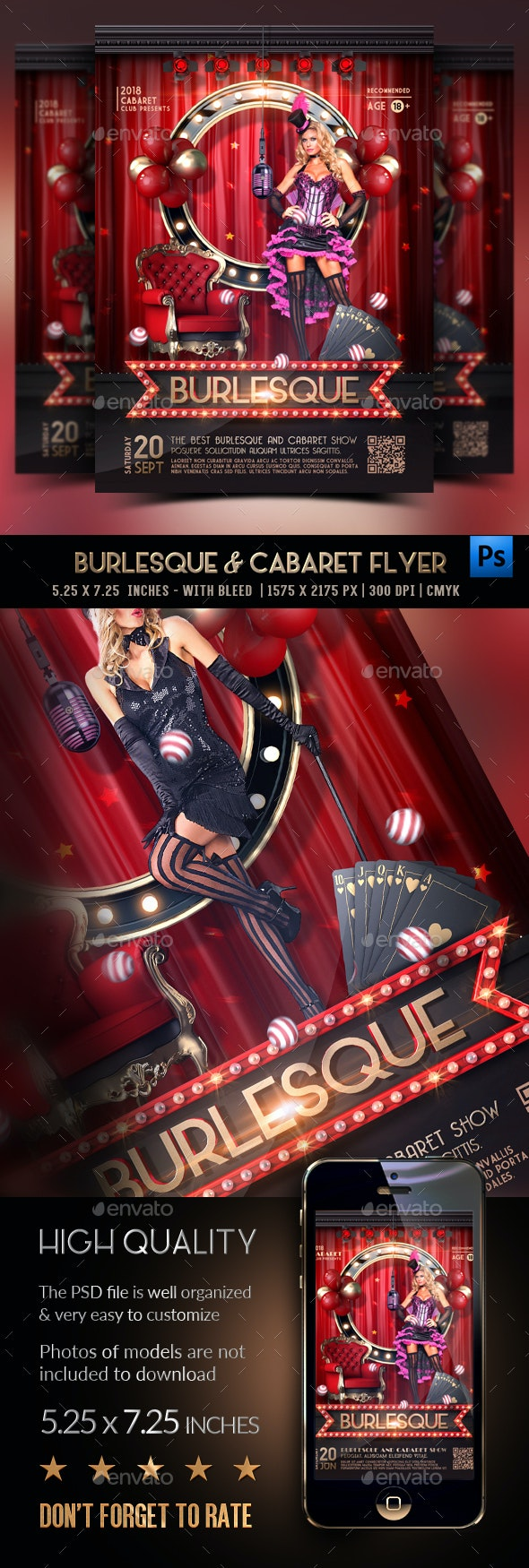 Burlesque & Cabaret Flyer - Clubs & Parties Events
