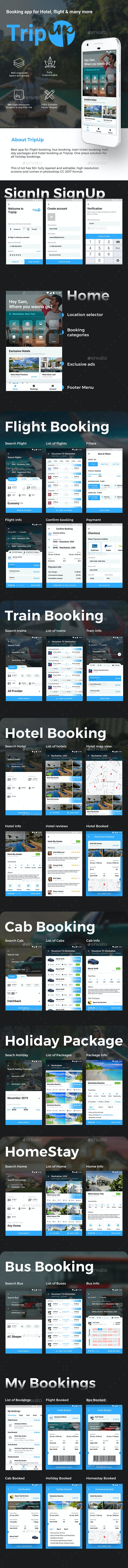Flight Tickets, Holiday & Hotel Booking App UI Kit | TripUp - User Interfaces Web Elements