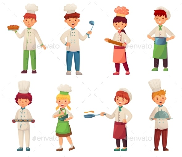 Cartoon Cooking Children. Little Chef Cooks Food - People Characters