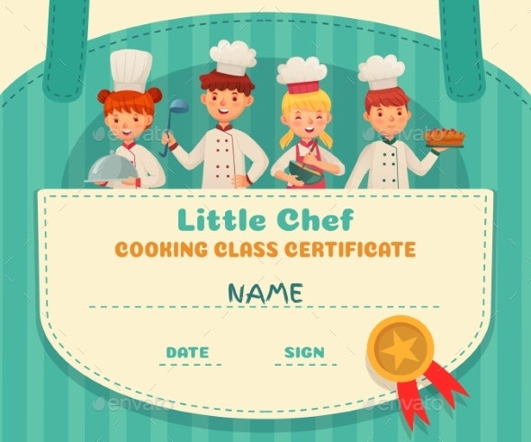 Little Chef Certificate. Cooking Class Chefs - People Characters