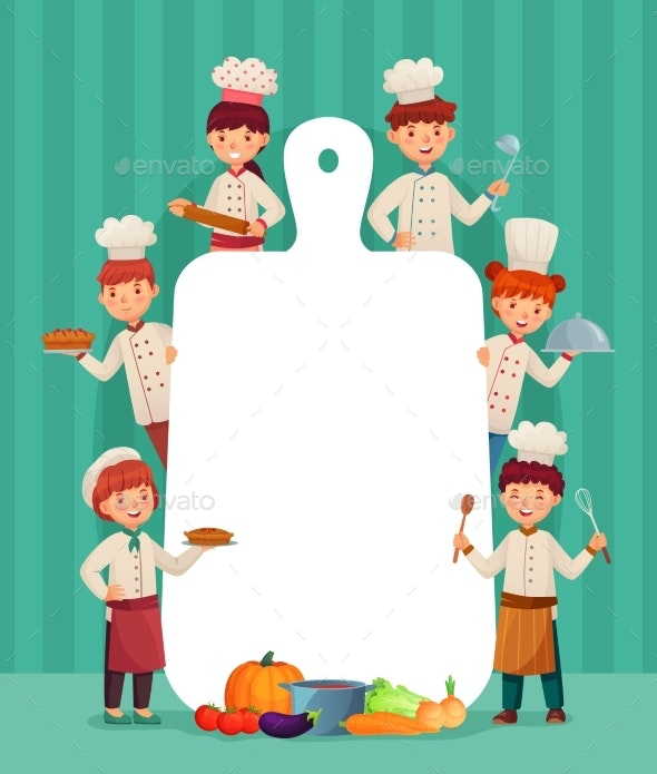Kids Menu Frame. Children Chefs Cook with Cutting - People Characters