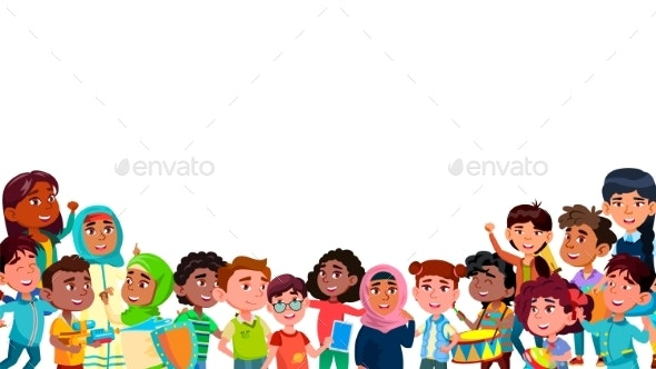 Group Of Mulicultural Smiling Children Vector - People Characters